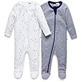Purebaby Stripe Zip Growsuit, Navy/White/Navy, 0-3 Months, (Pack of 2)