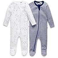 Purebaby Stripe Zip Growsuit, Navy/White/Navy, 0-3 Months, (Pack of 2)