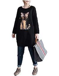 Hardy 女性 アートシンプルな漫画 プリント 長い 段落 快適 スリムコットンセーター かわいいスウェット