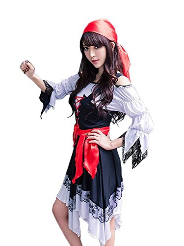 Anna Mu 女海賊 コスプレ 衣装 3点セット バンダナ付き 大人用コスチューム 黒 レディース z1693