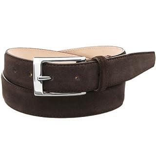 William Suede Dress Belt: Dark Brown