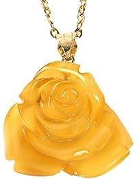 ロイヤルアンバー 琥珀 ネックレス ペンダントトップ 薔薇 K18 チェーン別売り 商品番号 1602