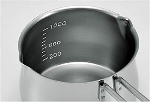 タケコシ 18-8ステンレス  ミルクパン 1000ml 目盛付