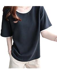 [マナンティアール] シンプル カジュアル Tシャツ レディース カットソー トップス 丸首 半袖 春夏 【全2色】 M~XL