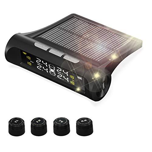 Natuoke タイヤ空気圧モニター センサー 太陽能/USB二重充電 TPMS モニタリングシステム 4外部センサー 日本語取扱説明書付き