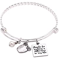 Melix Home Teacher Bracelet Inspirational Charm Bracelet- Thank You for Making a Difference in My Life