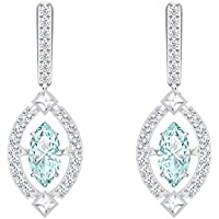 Swarovski Sparkling Dance Women's Dangling Pierced Earrings with Green and White Crystals with a Rhodium Plated Setting