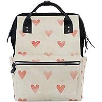 ママバッグ マザーズバッグ リュックサック ハンドバッグ 旅行用 水彩ハート柄 バレンタインデー ファション