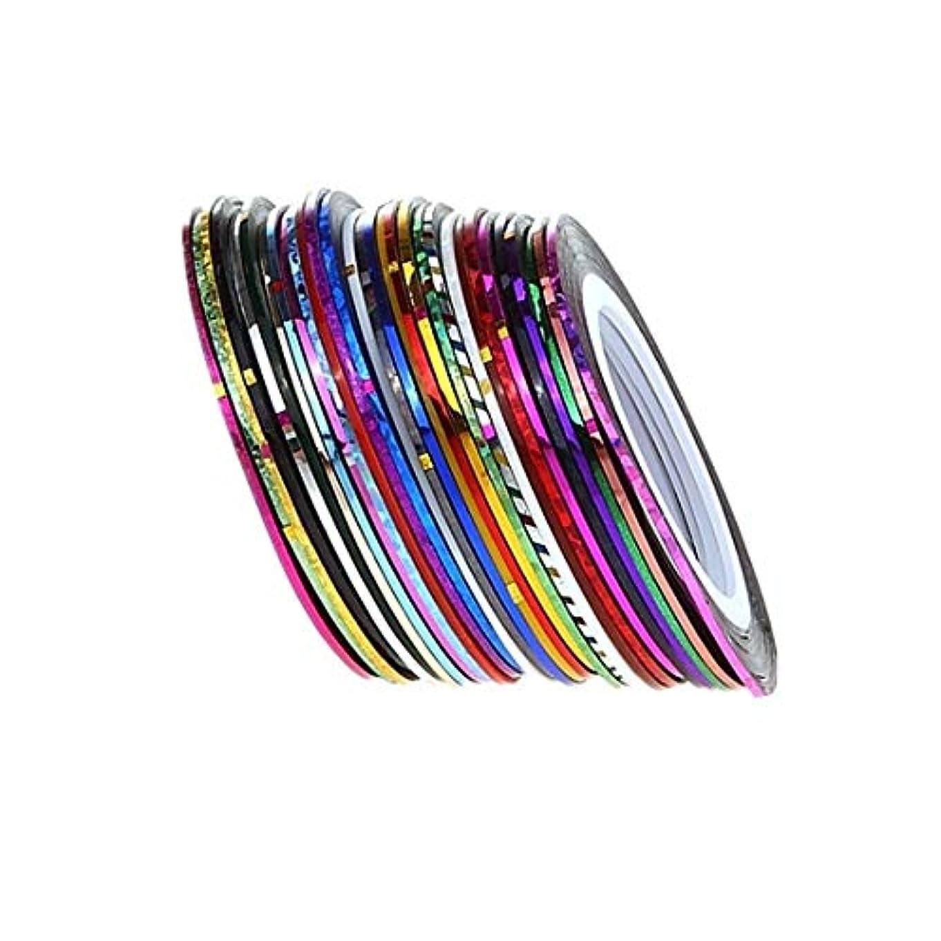 曲線過剰洗剤OWNFSKNL 1セットDIY 30色ネイルUVジェルポリッシュゴールドシルバーレーザーロールストライピングテープラインネイルアートのヒントデコレーションステッカーギフト1mm