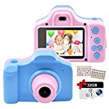 Childrens Digital Cameras, Rechargeable Toy Camera, Video Camera with 2 Inch IPS Screen and 32GB SD Card, Mini Child Camcorder, Gifts for 4-8 Year