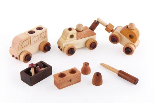 スプソリ 木のおもちゃ 車組立工具おもちゃセット 木製ボルトとドライバーで色々な車を作ろう!