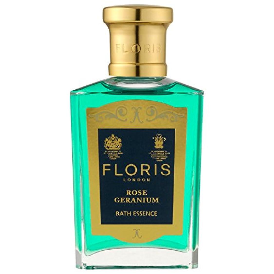 船外リーン深く[Floris] フロリスは、ゼラニウムバスエッセンス50ミリリットルをバラ - Floris Rose Geranium Bath Essence 50ml [並行輸入品]