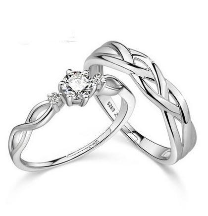 Alnair ペア リング 純銀製指輪 CZジルコニア S925 シルバー 刻印入り シンプル 夫婦 恋人 お揃い プレゼント 母の日 父の日 誕生日 2個セット