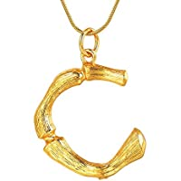 Godyce 26 Letter Charm Bamboo Pendants Women Gold/Platinum Plated Snake Chain Initial Necklace