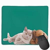 マウスパッド 可愛いネコ 犬 近づけ ラブリー ゲーミング プリント 高級感 快適 防塵 耐久性 速乾性 レーザー&光学式マウス対応でき 滑り止めゴム底 綺麗