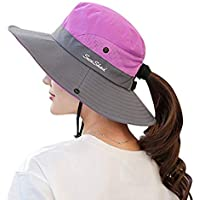 Premium Womens Summer Wide Brim Sun Hat UV Protection Foldable Mesh Caps UPF 50+ Beach Hat Adjustable Fishing Cap
