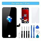 Flylinktech iPhone 7 Plus フロントパネル タッチパネル 修理交換用タッチパネル 5.5 インチ ガラス修理液晶パネル 画面修理パーツ付属 (iPhone 7 Plus ブラック)