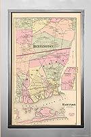 Mapアトラスロングアイランド、ヨーク、バビロン&ハンティントン1873都市 歴史的アンティークヴィンテージ再印刷 サイズ:14x24 フレームにすぐれる
