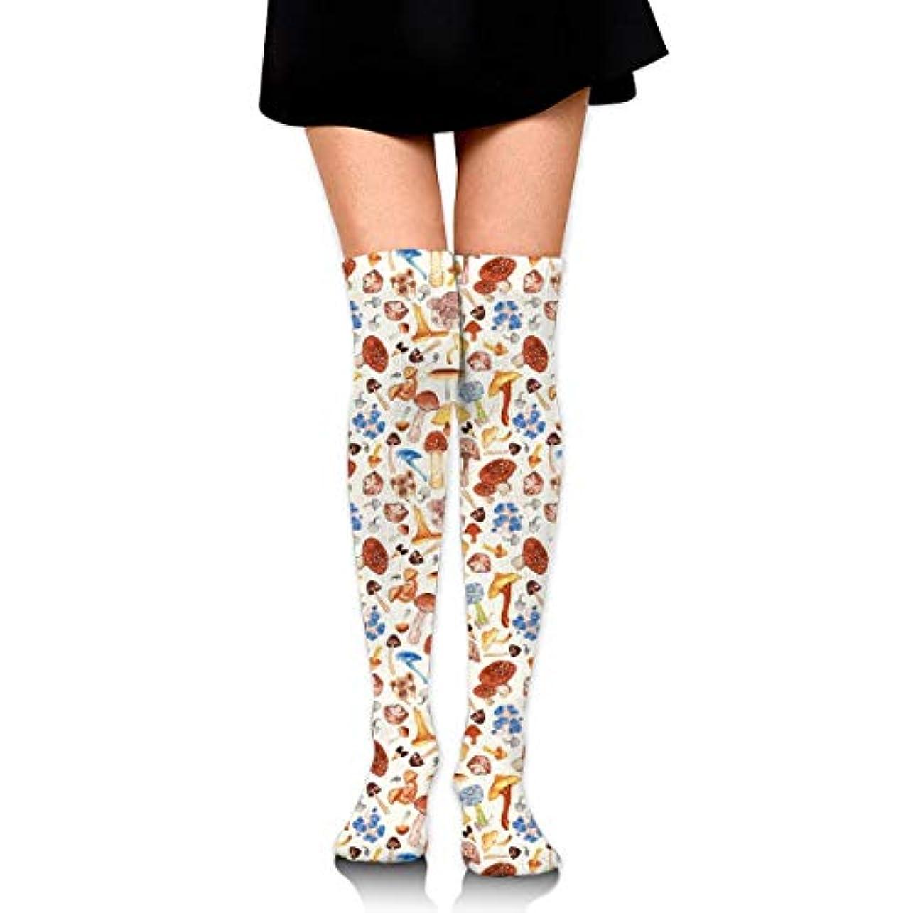 記念碑的な増強落胆させるMKLOS 通気性 圧縮ソックス Breathable Extra Long Cotton Thigh High Red Mushrooms Socks Over Exotic Psychedelic Print Compression...