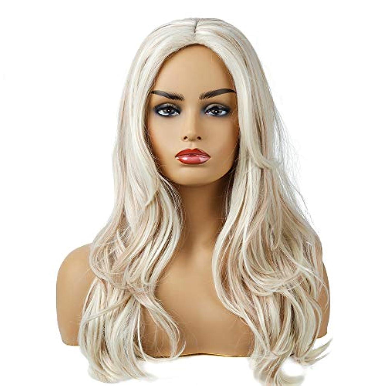 規制農学巧みな女性のためのホワイト女性の毎日のパーティーウィッグ用ロング波状レースナチュラル人工毛かつら高温耐熱性繊維毛ウィッグ (Color : Beige)