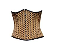 Cotton Brocade Check Gothic Burlesque Waist Cincher Bustier Underbust Corset Top