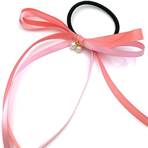 (ニノン) ninon ヘアゴム リボン パール付き グログラン サテン ピンク