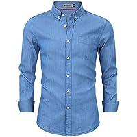 Kuulee Men's Casual Slim Fit Denim Shirt Dress Shirt Button Down Long Sleeve Shirt