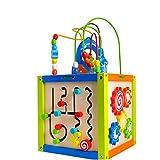 パズルベルトホイールの下部にある木のおもちゃ赤ちゃんの早期教育六面体教育玩具をビーズ ルーピング おもちゃ (色 : マルチカラー, サイズ : 27x27x49.5cm)