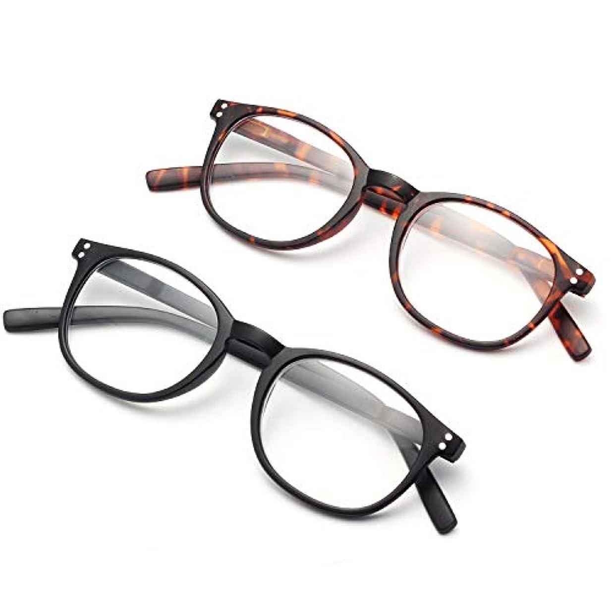 資金以前は文明化AMORAYS 老眼鏡 ブルーライト UVカットボストン型PCめがね シニアグラス おしゃれ メンズ レディース AM3241001 (2個セット, 3.00)