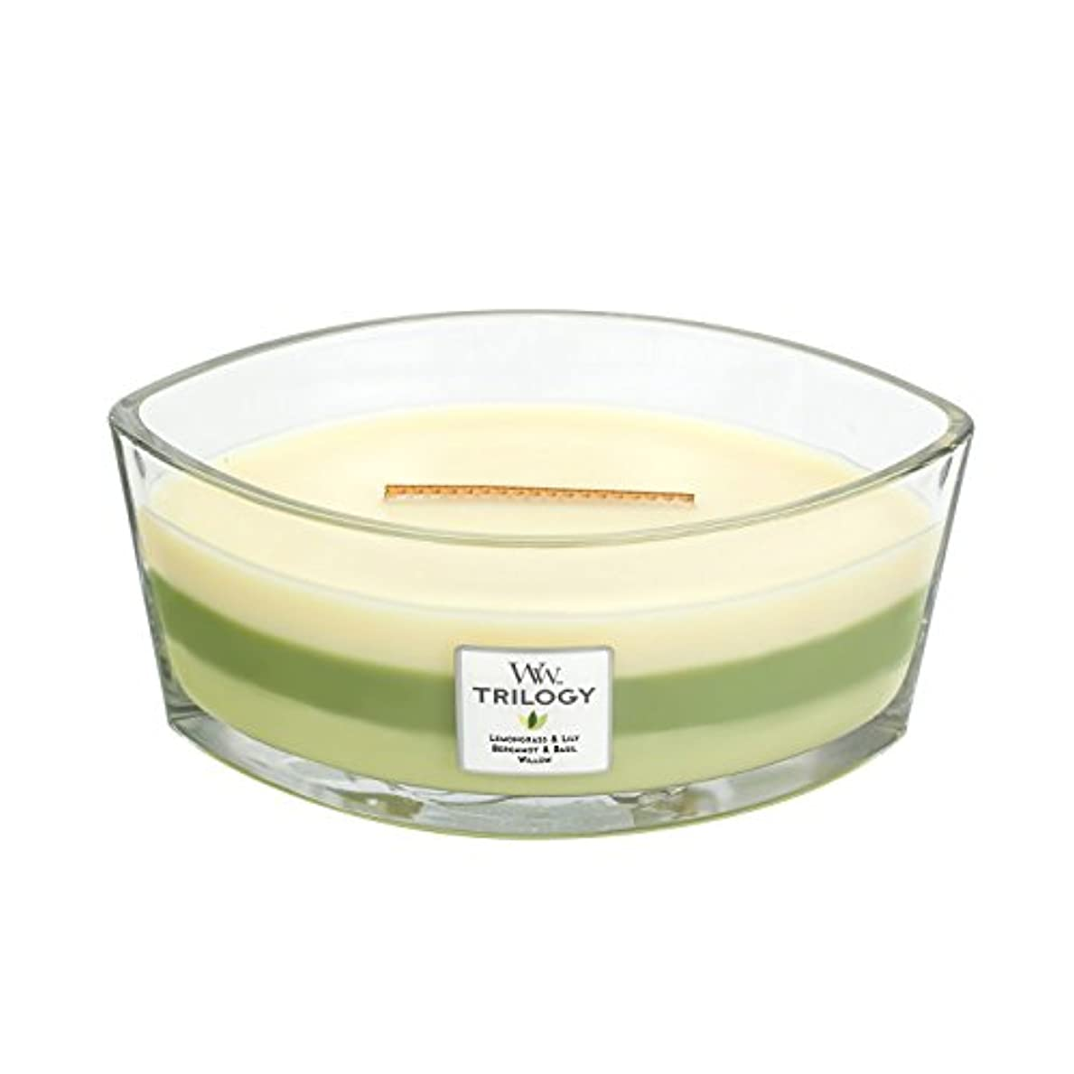 WoodWick Trilogy GARDEN OASIS, 3-in-1 Highly Scented Candle, Ellipse Glass Jar with Original HearthWick Flame,...