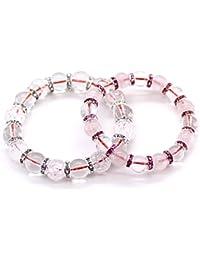 石輝 大切な相手に赤い糸で結ばれたペアブレスレット ギフト用木箱付き 水晶クラック水晶メンズとローズクォーツ水晶レディース[b432]