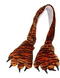 GRALARAファッション 秋冬 暖かい 防寒 マフラー スカーフ 動物 爪 可愛い 手袋 全3色 - トラ柄