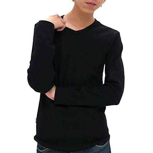 (アヴィレックス) AVIREX Tシャツ メンズ ブランド 長袖 Vネック 無地 リブ 秋 4color L ブラック