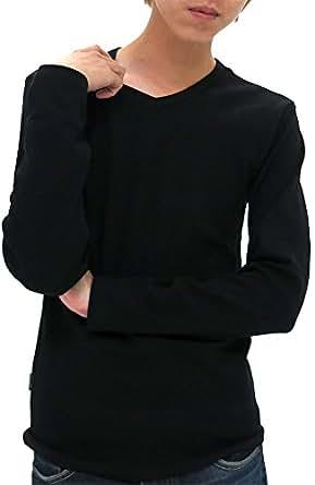 (アヴィレックス) AVIREX Tシャツ メンズ ブランド 長袖 Vネック 無地 リブ 秋 4color S ブラック