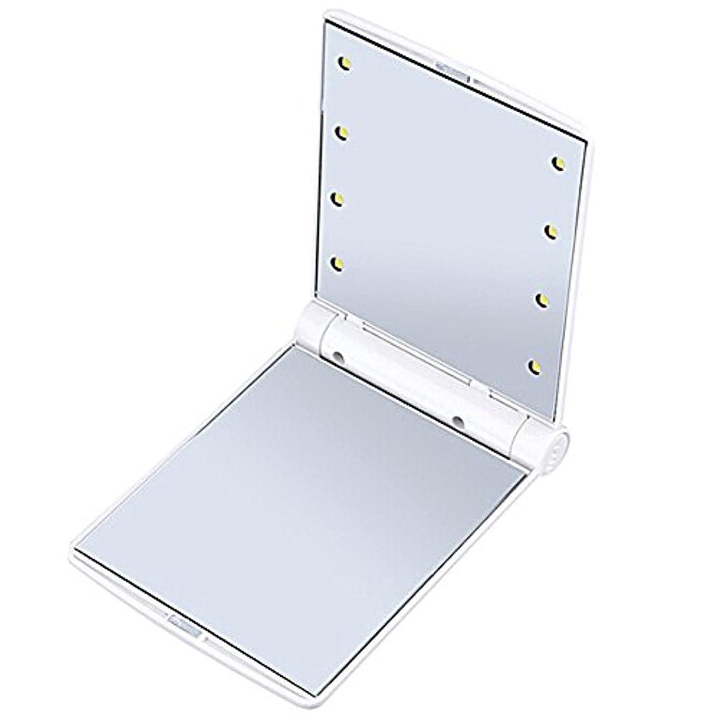 前進パッケージ圧倒するB-PING 鏡 化粧鏡 女優ミラー 調光型二面鏡 拡大鏡付き 330度調節可能 コンパクトミラー スタンドミラー 折りたたみ式 二面鏡 LED ライト8個 無印タイプ 5色のオプション (ホワイト)