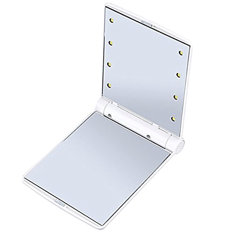 を必要としていますライナーちらつきQIAONAI 鏡 化粧鏡  LEDライト付き  コンパクトミラー 化粧鏡  LEDミラー  女優ミラー  折りたたみ式 二面鏡  スタンドミラー   コンパクト  LEDライト8個 女性