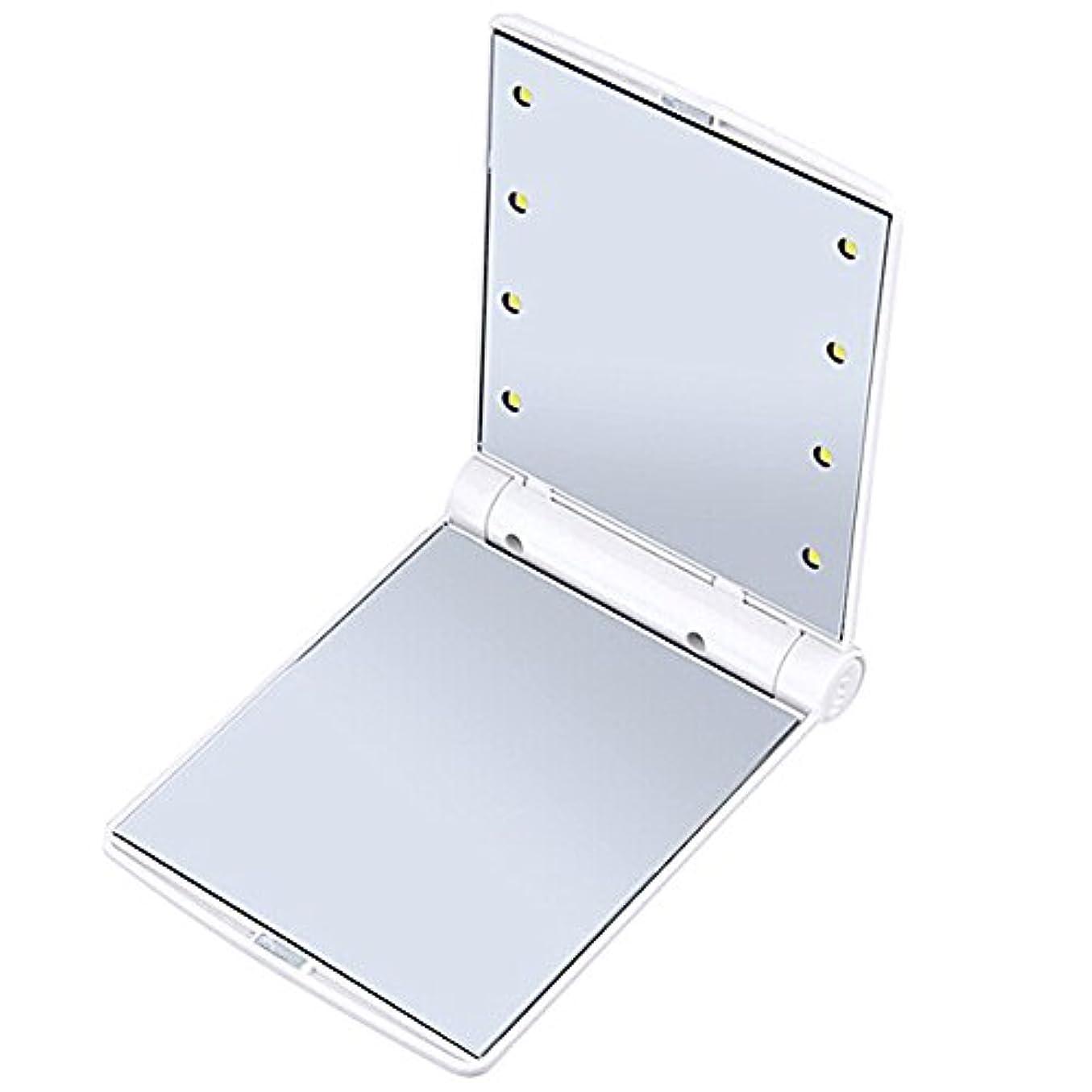 B-PING 鏡 化粧鏡 女優ミラー 調光型二面鏡 拡大鏡付き 330度調節可能 コンパクトミラー スタンドミラー 折りたたみ式 二面鏡 LED ライト8個 無印タイプ 5色のオプション (ホワイト)