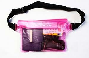 完全防水 ウエストバッグ ポーチ アウトドア 海水浴 プール の 必需品 I02-03 (ピンク)