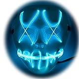 PlumRiver LED 光る マスク お面 仮面 犬神家の一族 犬神佐清 スケキヨ 風 ホラー ハロウィン ハロウィーン halloween イベント パーティー 宴会 仮装 コスプレ プラスチック light ライト 発光 cosplay 装飾 点滅 電池式 Blue ブルー