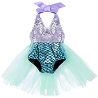 JEATHA Infant Baby Girls One Piece Shiny Sequins Halter Fish Scales Printed Swimwear Bathing Suit Tulle Skirt Swimsuit