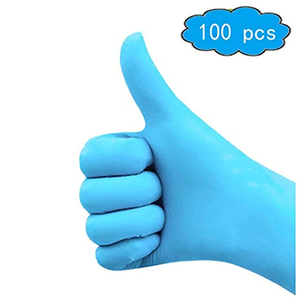 に頼る神学校のぞき穴使い捨てニトリル手袋、パウダーなし、厚く、3 mil、青、サイズL、100個入り、サニタリー手袋、家庭用品 (Color : Blue, Size : L)