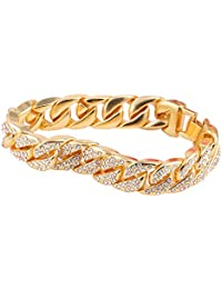 CASTELBELBO Mens Womens Cuban Link Bracelet Hip Hop Bracelet Stainless Steel Chain Bracelet Iced Out Curb Cuban 18k Gold Plated Bracelet with Clear Rhinestones (A-Gold)