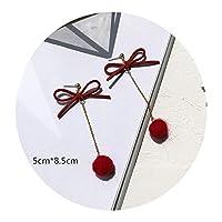 特売!気質ワインの赤いシンプルな愛のボールの花のイヤリングピアス 女性,気質ワインレッド13#