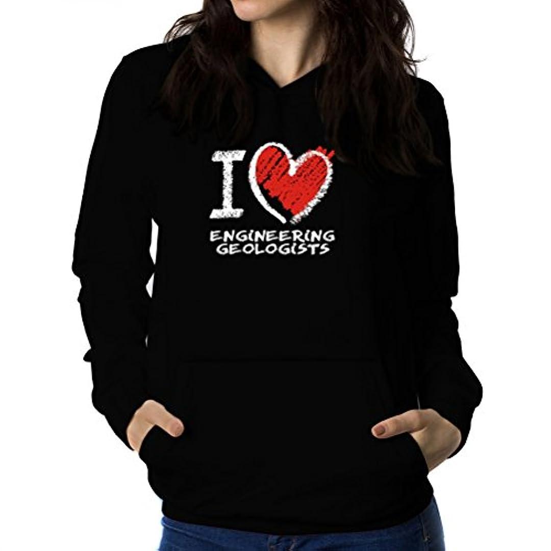 引くキャンベラ灰I love Engineering Geologist chalk style 女性 フーディー