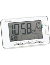 セイコー クロック 目覚まし時計 電波 デジタル ウィークリー アラーム カレンダー 快適度 温度 湿度 表示 白 SQ774W SEIKO