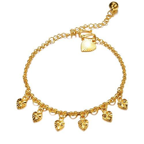 [해외]서식 정점] Richapex 18 금 골드 필 드 하트 매력 체인 발찌 방울 Bell 선물 자신에 대한 보상에 발 보석 반짝 체인 발찌 골드/[Rich Vertex] Richapex 18 K Gold Filled Heart Charm Chain Anklet Bell Bell Gifts Footwear Jewelry Glittering Cha...