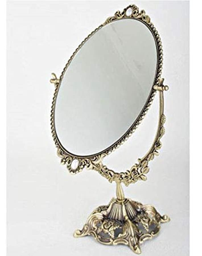 ツーリストクレジットラバ銅材質の鏡, アンティーク?両面卓上ミラー … ローズ鏡 大きいサイズ、横21センチx立て38センチ、、