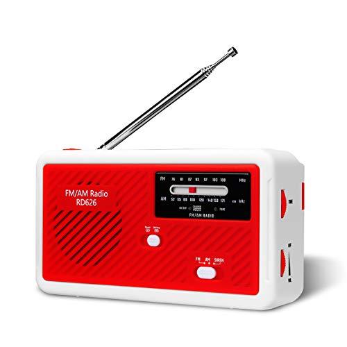 ポータブルラジオ 第二世代 Glisteny 防災 LED懐中電灯付き ポータブルラジオ 1000MaH大容量バッテリー防災ラジオ 警報機能 スマートフォンに充電可能 手回し充電/ソーラー充電対応/乾電池使用可能 (赤)
