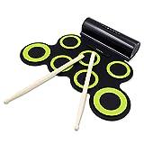 Rockpals 電子ドラム ポータブルドラム ドラムセット MP3・USB・PHONES対応可能 マルチ伴奏 デモ機能搭載 8デモ曲 7個ドラムパッド 5音色 3リズム 充電式 電池付き ホーン二つ内蔵 コンパクトサイズ 外部オーディオ入力 ペダルスティック付き 練習/初心者/入門/子供/おもちゃ どこでもドラム 改良版 高品質で一年保証
