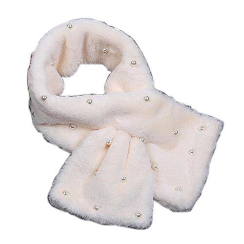YEJIA FASHION モコモコ オシャレ マフラー ファーティペット ファーマフラー パール 軽い あったか 差し込み  (ホワイト)